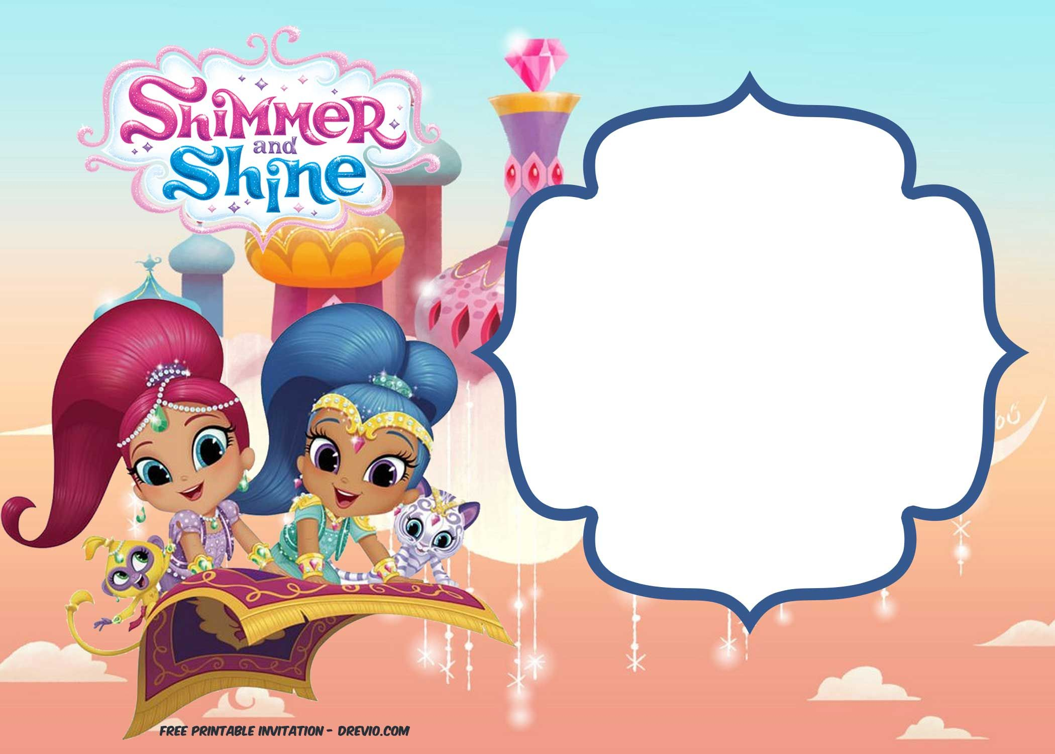 Free Shimmer And Shine Invitation Template Free Printable Birthday Invitations Free Invitation Templates Shimmer N Shine