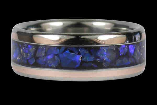 Black Opal And Rose Gold Anium Ring
