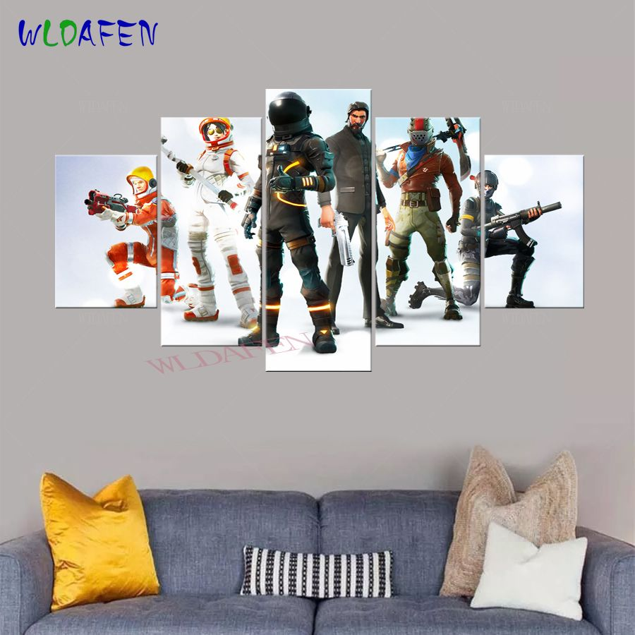 Fortnite Game Anime Poster 5 Pieces Canvas Art Printed ...