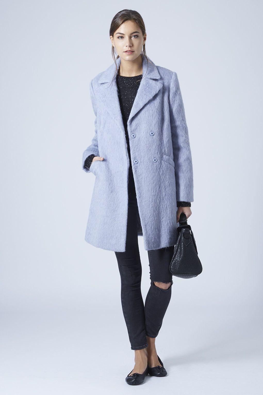 TopShop Photo PETITE Baby Blue Fluffy Wool Blend Swing Coat ...