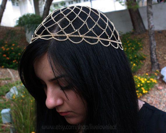 Gold Chain Cap Headpiece Hairchain Head Jewelry Fashion Hair Piece Head Jewelry Hair Accessories Head Chain