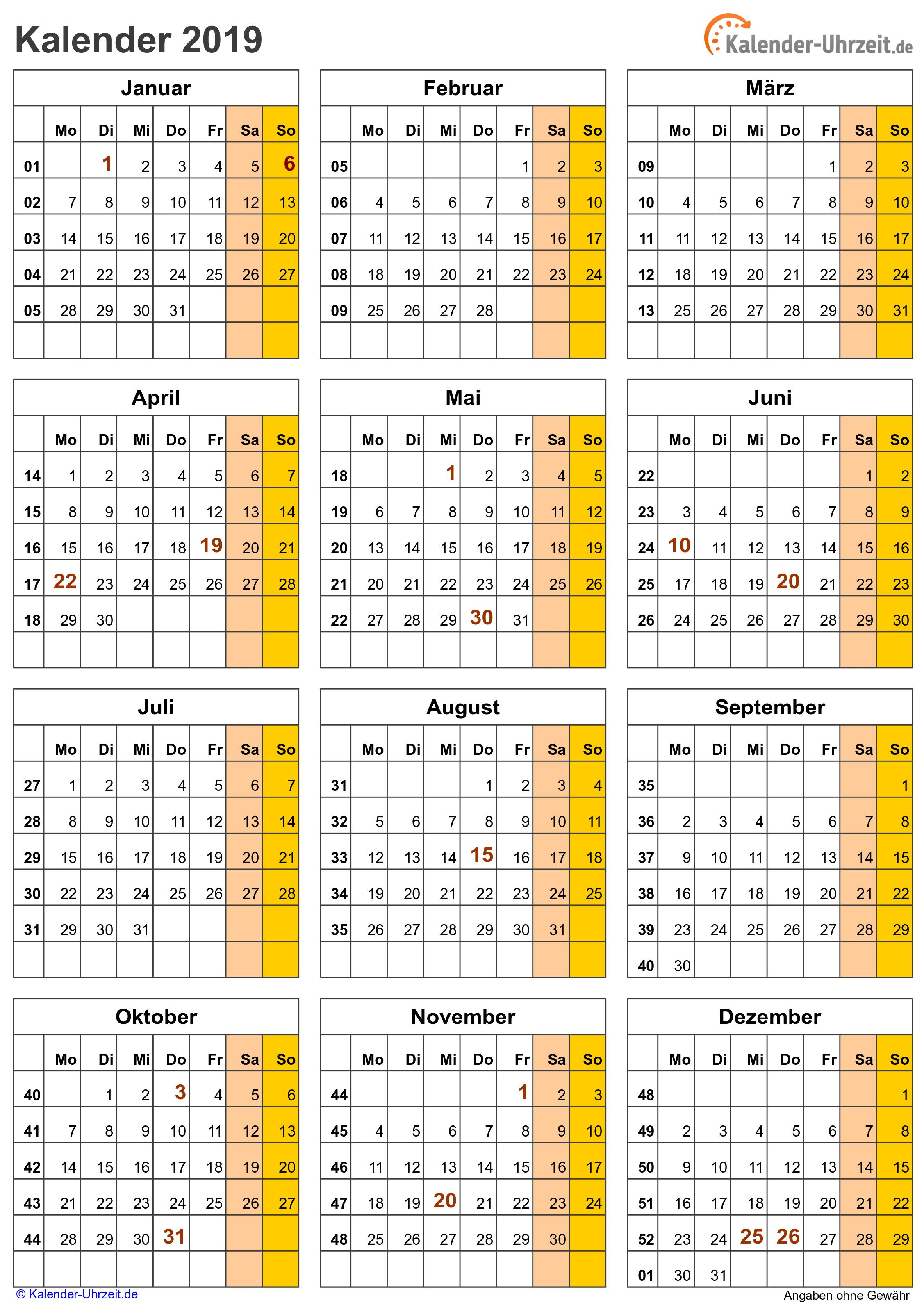 Kalender 2019 zum Ausdrucken. Gratis Vorlagen zum Download ...