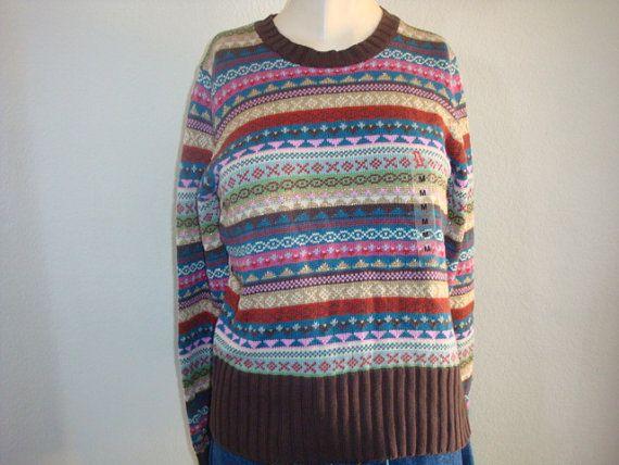 vintage LEVI fair isle stripe red blue green color women sweater ...
