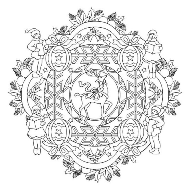 Mandala 614 Christmas Designs 3d Coloring Book By Marty Noble