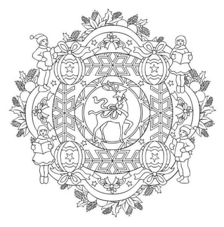 Mandala 614, Christmas Designs 3D Coloring Book, Dover