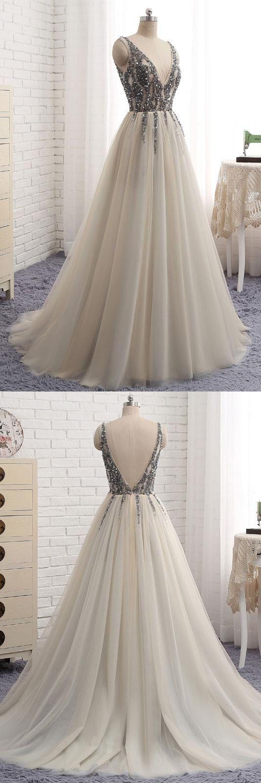 Plus size bling wedding dresses  deep Vneck prom dress longprom dress prom dress longAline prom