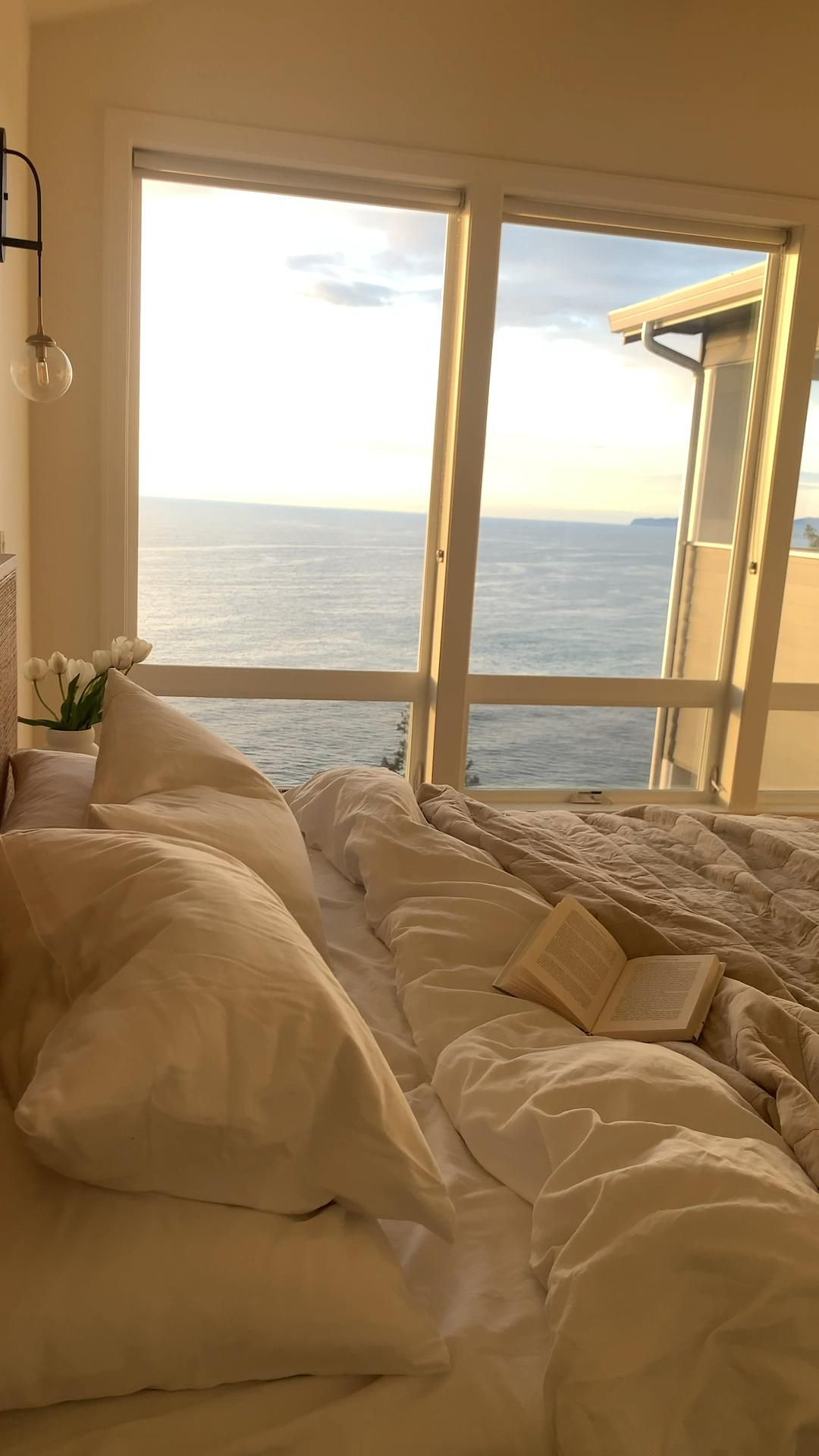 Pearl Master Bedroom showing off the sunset views. Go to www.Neskapebeach.com to book your stay!