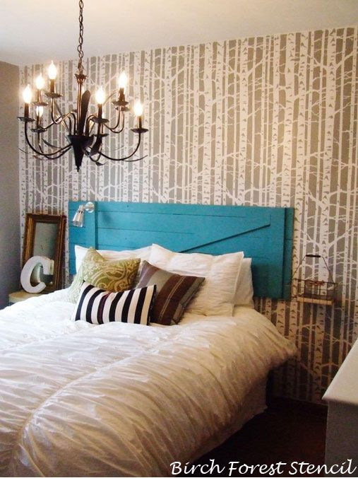 awesome Stencils For Bedrooms Part - 5: Birch-Forest-STencil-Painting-Stencils-Bedroom-Decorating