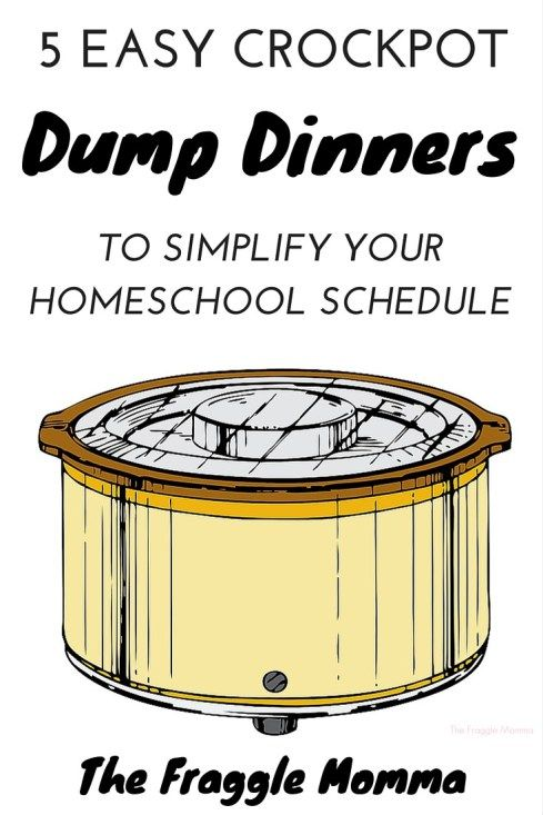 "5 Day Meal Plan of easy to prepare dump dinners to make your homeschool week just a little simpler. These are so easy to throw together. I was able to set a time for when it went in and keep on working with the kids on math while I was ""cooking"" dinner!"