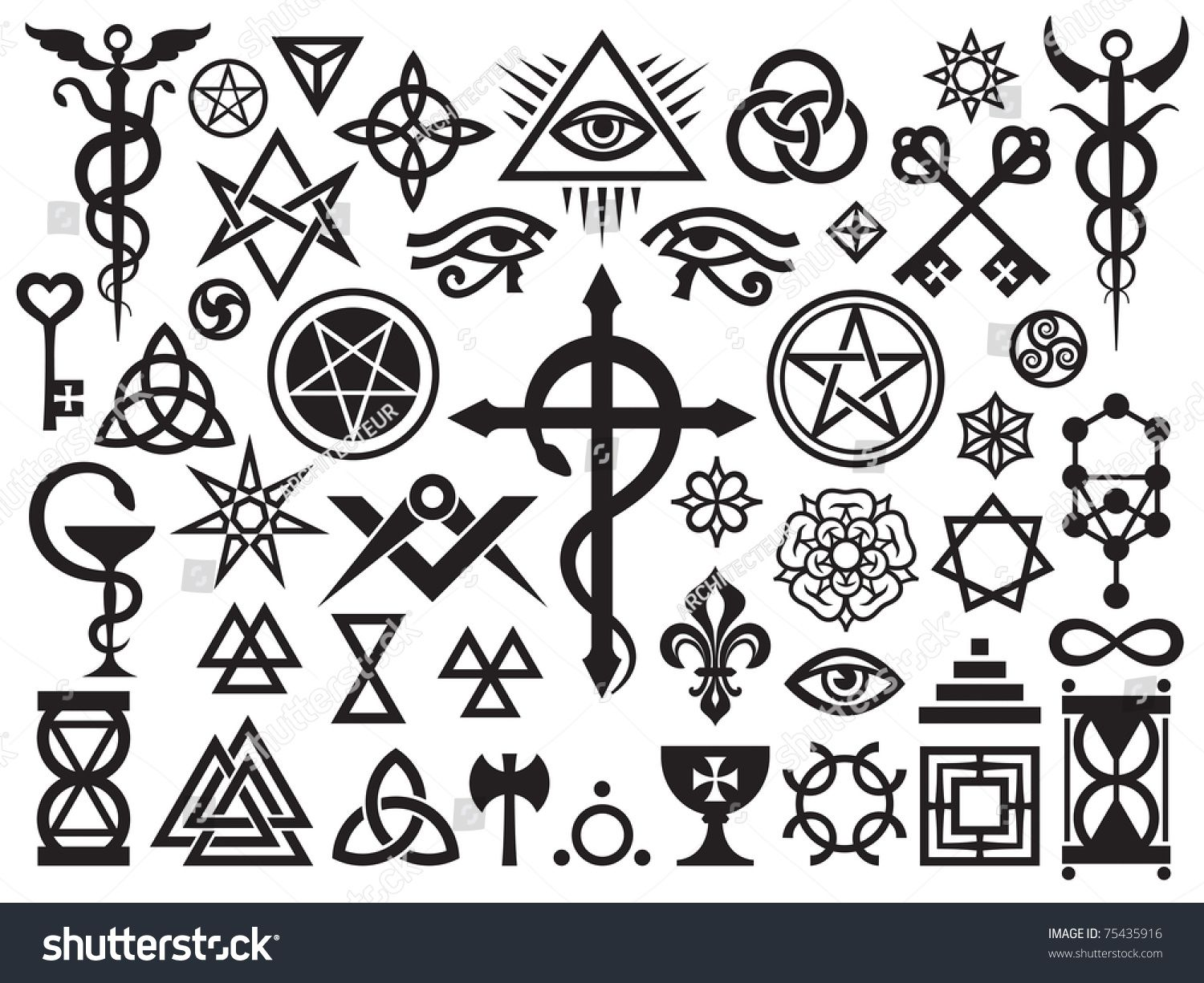 Stock vector medieval occult signs and magic stamps locks knots explore health foods symbols and more biocorpaavc Choice Image
