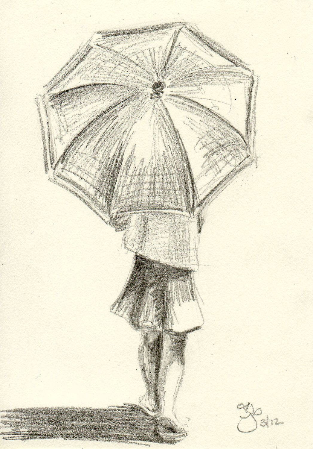Girl with umbrella 4x6 pencil study by jamiepbruno on etsy for Simple paintings to draw
