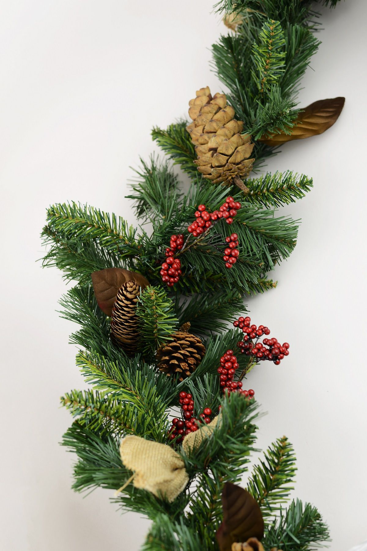 Pine Cone Berry Christmas Garland With Burlap Bows 6ft