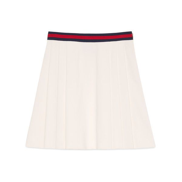 Gucci Pleated Skirt With Web (12.798.750 VND) ❤ liked on Polyvore featuring skirts, ready to wear, women, gucci and gucci skirt