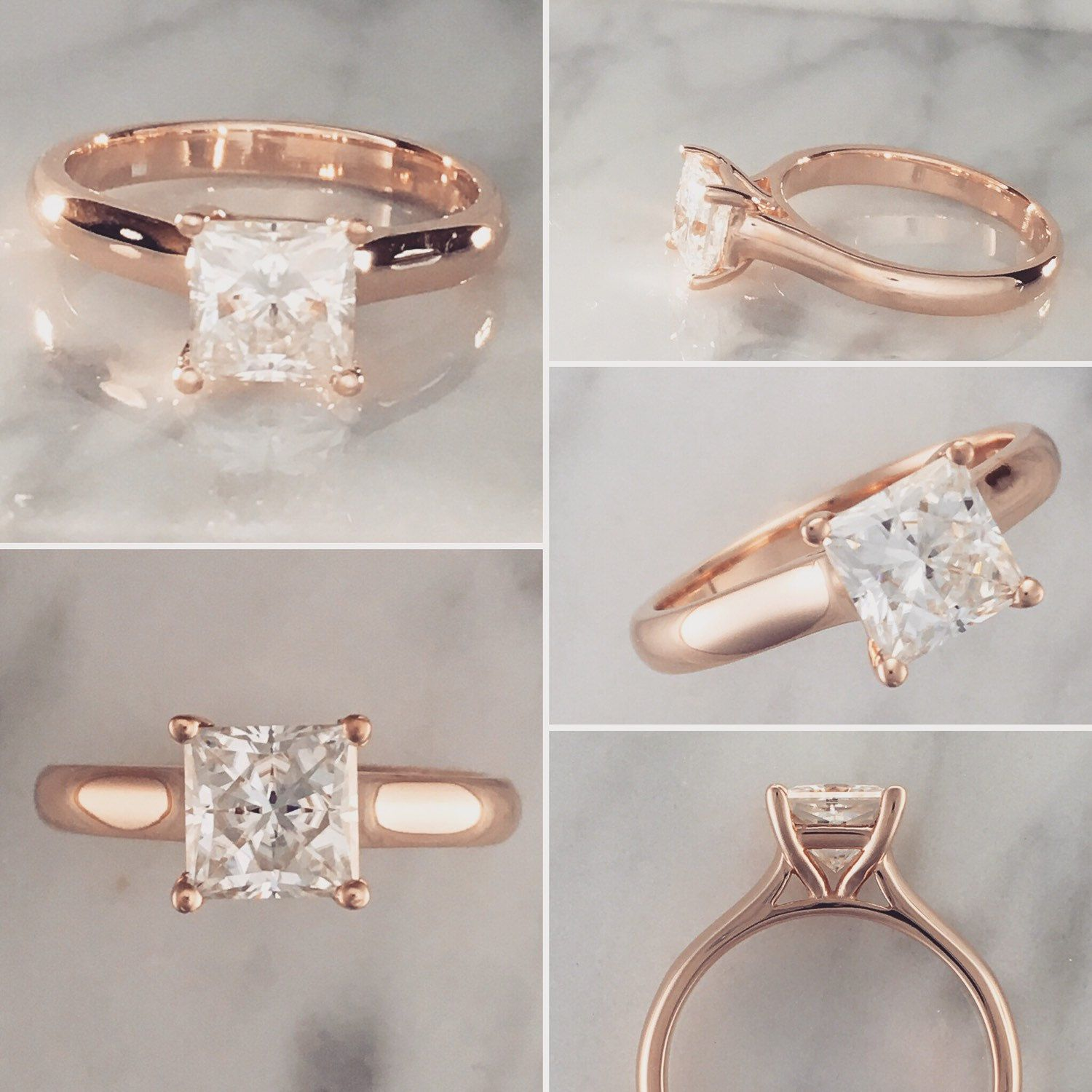 Princess Cut Solitaire Engagement Ring 6 5mm to 7mm Stone 14K