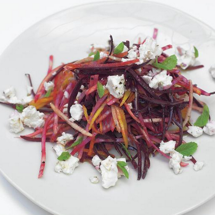 CRUNCHY RAW BEETROOT SALAD WITH FETA AND PEAR by Jamie Oliver, from Crazy Chic