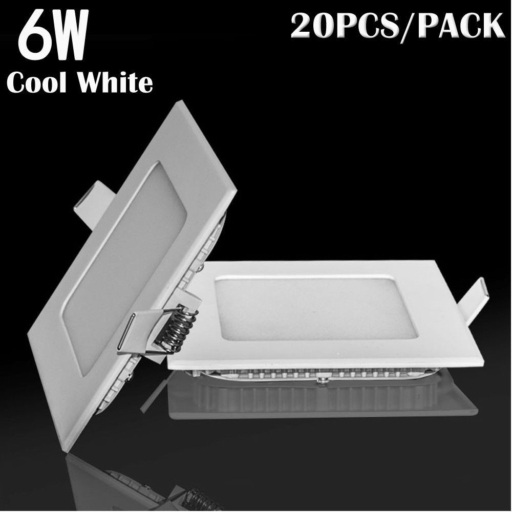 20x 6w Square Led Recessed Ceiling Panel Down Lights Bulb Lamp For How To Wire Howtos Diy 7901 Usd Indoor