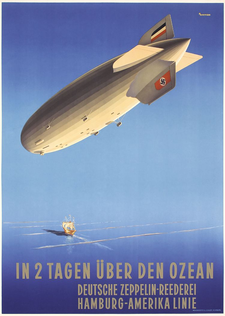 Vintage1920/'s Trans Atlantic Zeppelin Poster  A3//A2//A1 Print