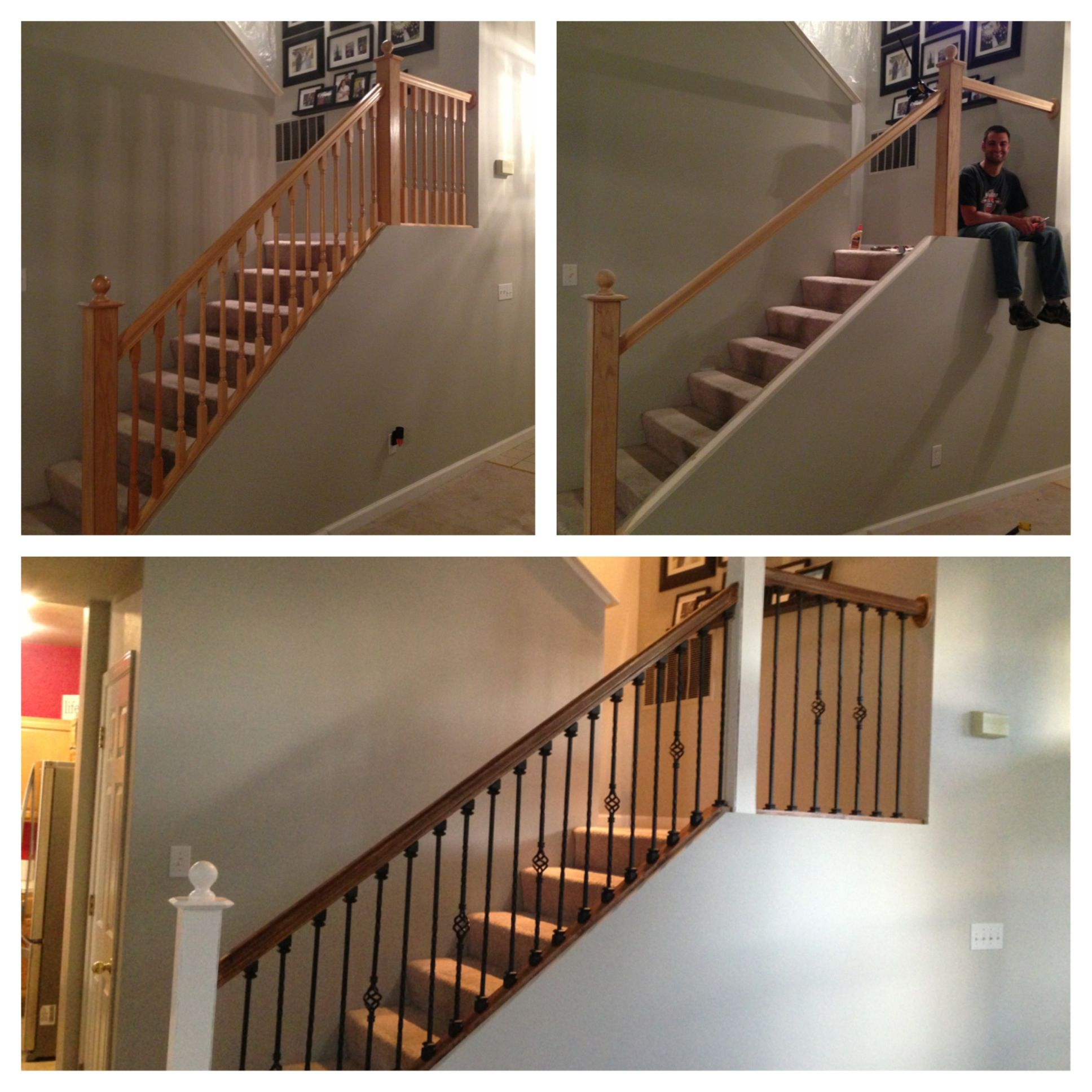 Before, During And After Staircase Upgrade DIY