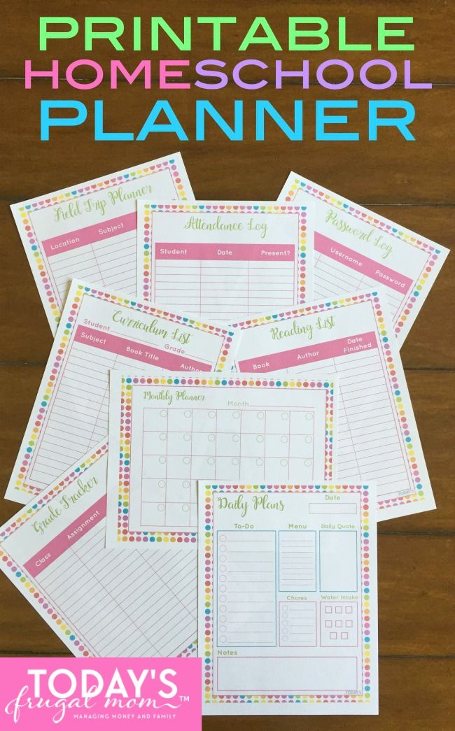 This is a graphic of Zany Homeschool Printable Planner