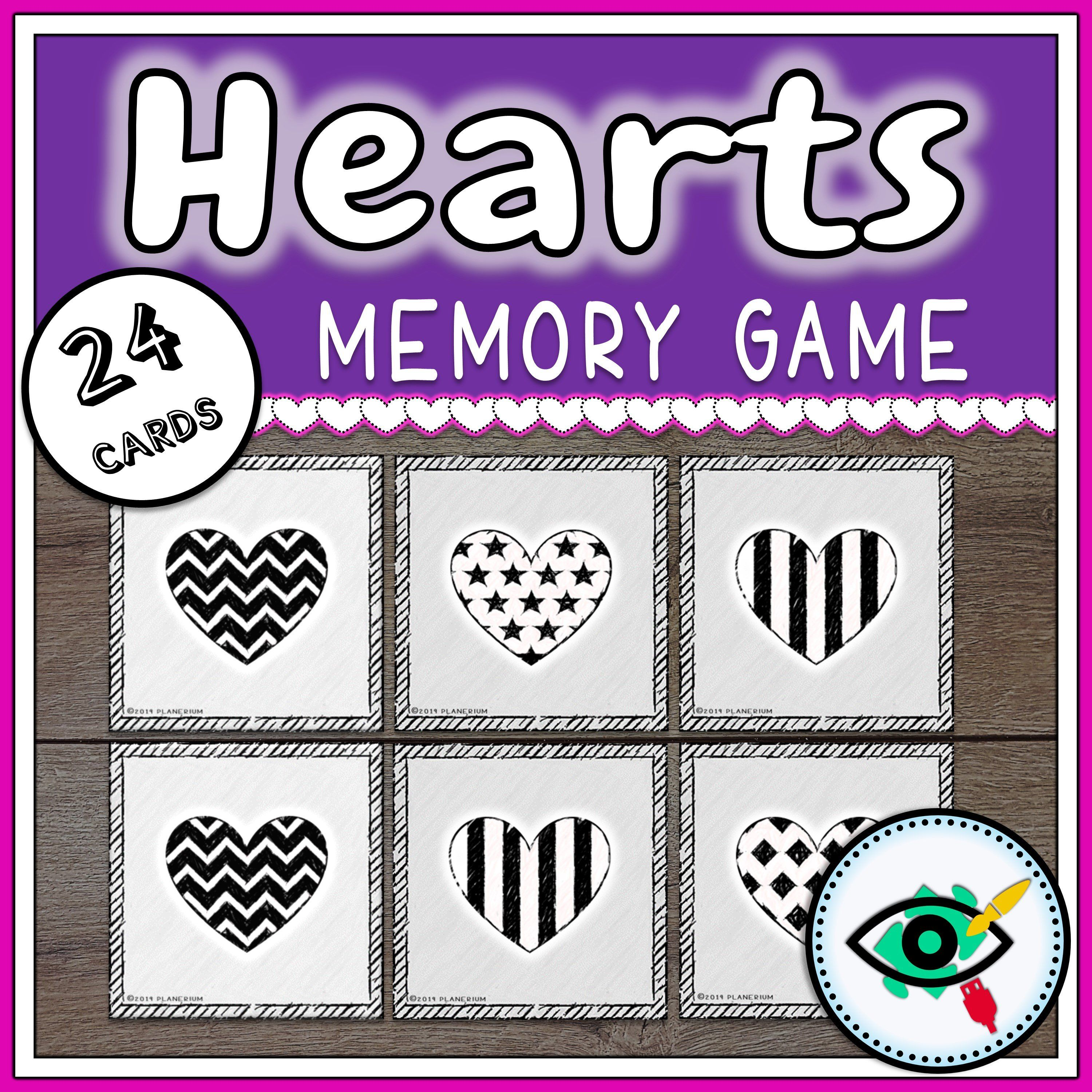 Valentines Day Matching Game Hearts Black And White