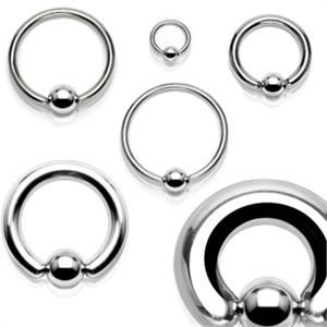 High And Low Gauge 316l Surgical Stainless Steel Cbr Captive Bead Ring Gauges 20g 10g Beaded Rings Wholesale Body Jewelry Steel Jewelry