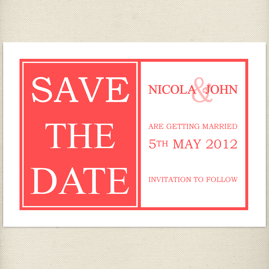 coral, cayenne, Save the date card, £1.20, #savethedate