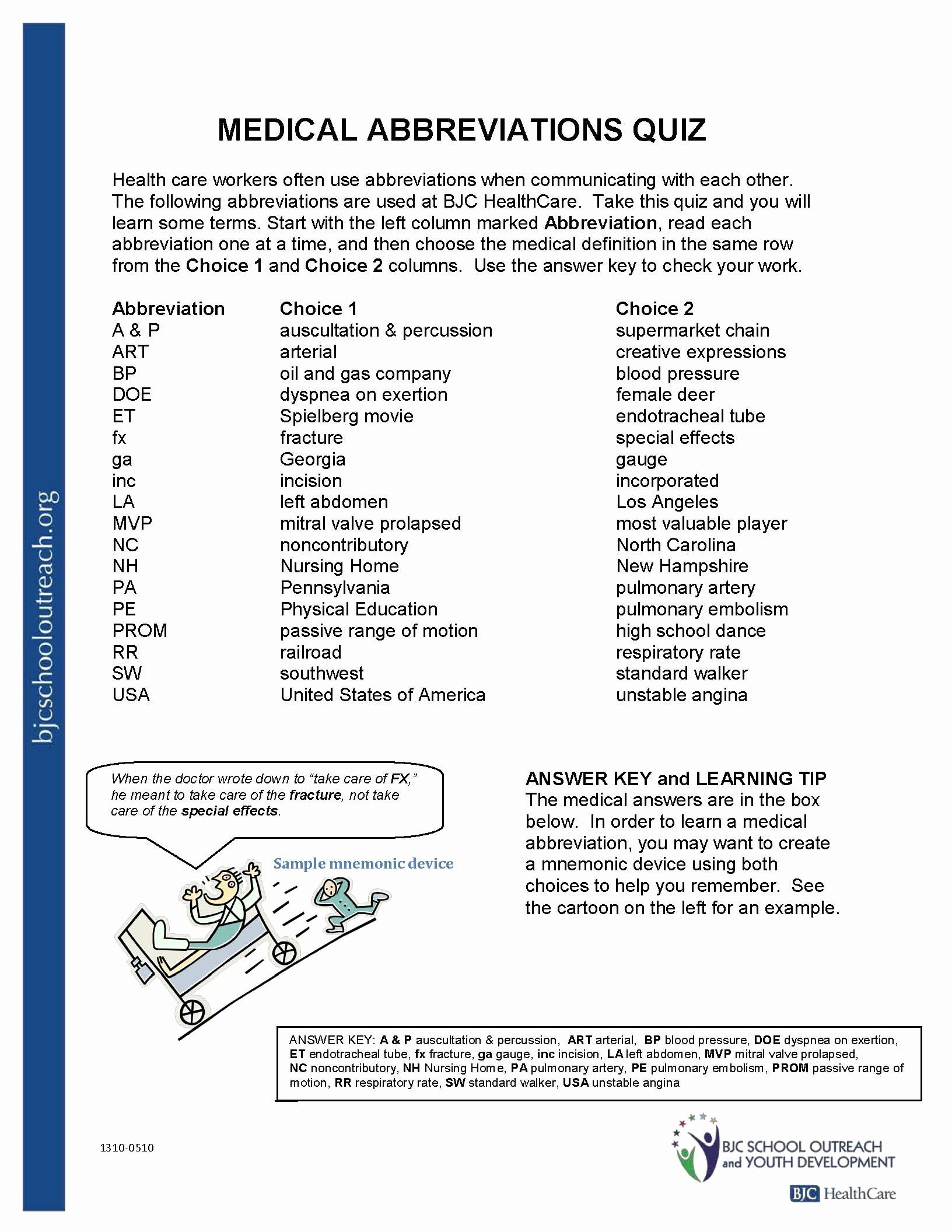 Medical Terminology Abbreviations Worksheet New Free