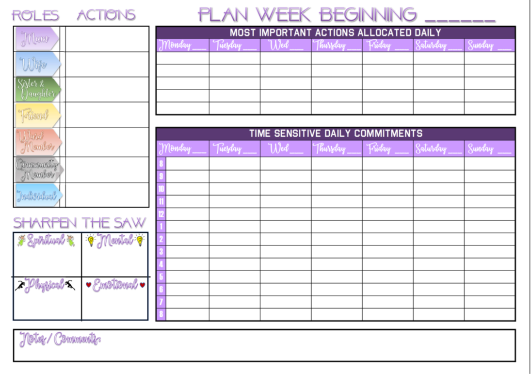 Printable A4 Weekly Wall Planner Calendar Based On The 7 Habits Of Highly Effective People