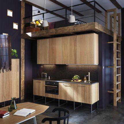 Comment agrandir une petite cuisine ? Façade bois, Cuisine ikea et - modele de cuisine americaine