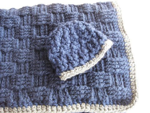 Crochet Pattern Baby Blanket And Hat Basketweave Blue Gray Great