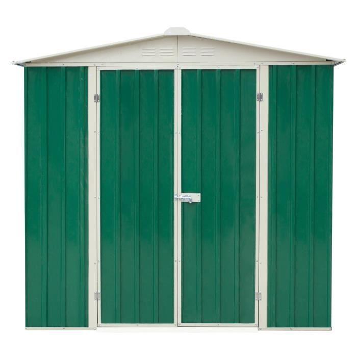 Abri De Jardin En Metal 2 39 M Toit 2 Pentes Double Porte Ouvrante 1 95 X 1 23 X 1 91 M Vert Fonce 1 23 In 2020 Outdoor Structures Outdoor Outdoor Decor