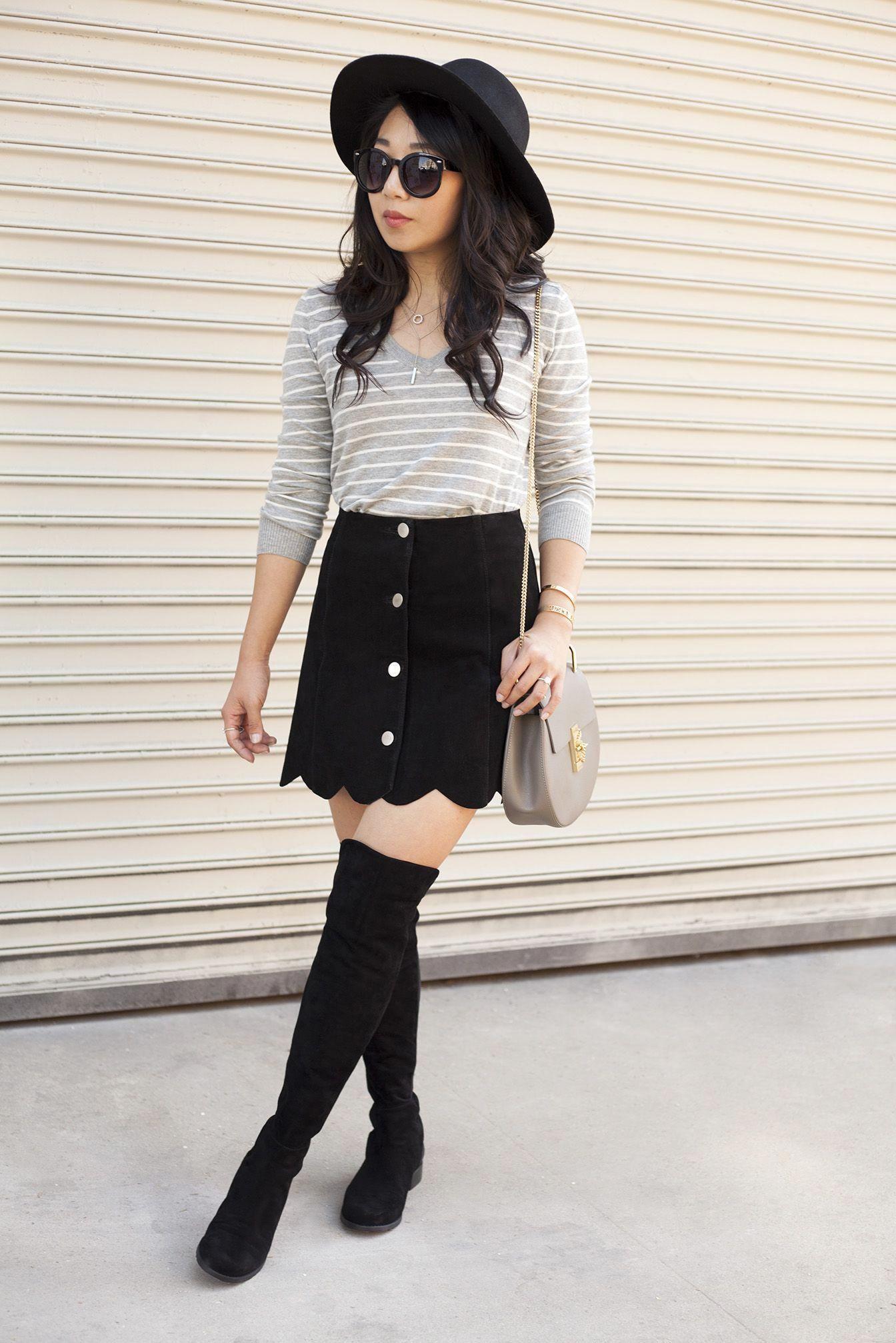 28eabc3da78 poshclassymom-suede-button-front-skirt-boho-stuart-weitzman-5050-boots-chloe-drew-striped-top-flop-hat-black-and-gray  (1)  StuartWeitzman