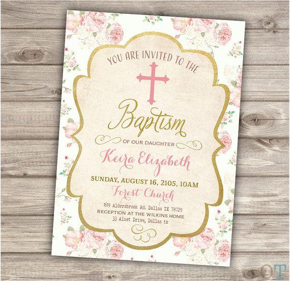 Baptism Printable Invitations Floral Cross Pink Vintage Burlap Girl - invitation for baptism girl