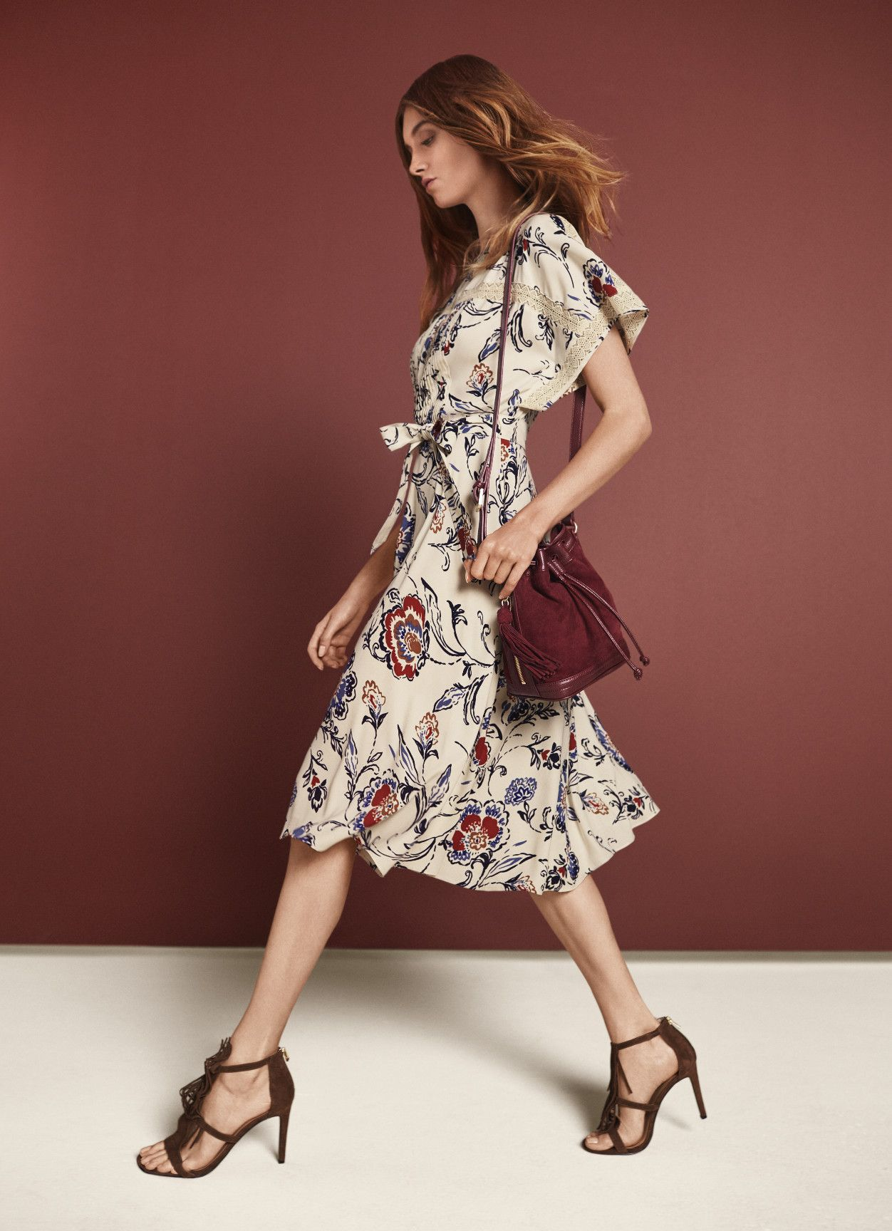 Channel The Season S Eclectic Mood With Ann Taylor S Floral Print Dress And Suede Fringe Accessories Blue Floral Midi Dress Preppy Chic Style Dresses