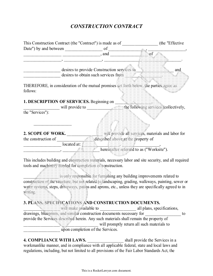Sample Construction Contract Form Template