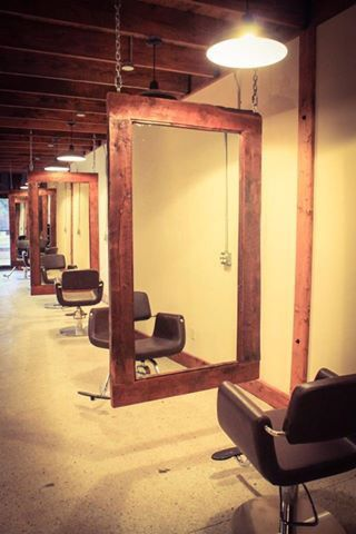 Custom Made Hanging Mirrors For Styling Stations At Bearde Salon Materials Were Repurposed From A 100 Ye Salon Suites Decor Rustic Salon Salon Interior Design