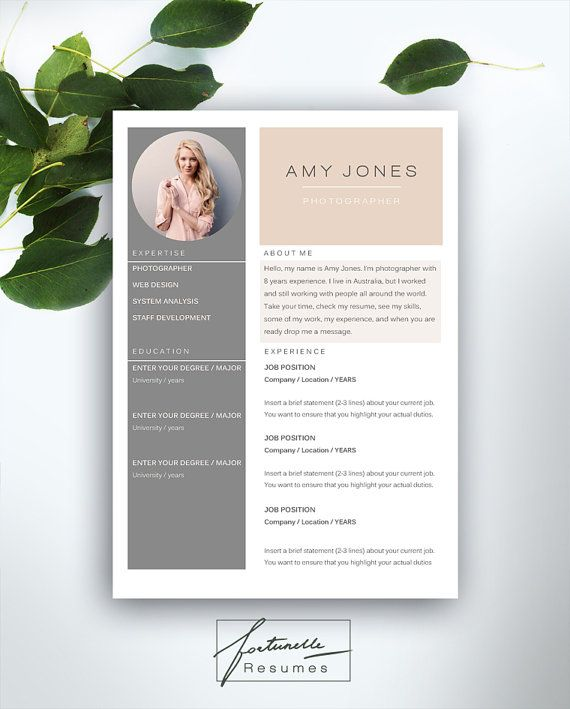 resume template 3 page    cv template   cover letter    instant download for ms word     u0026quot amy u0026quot  en