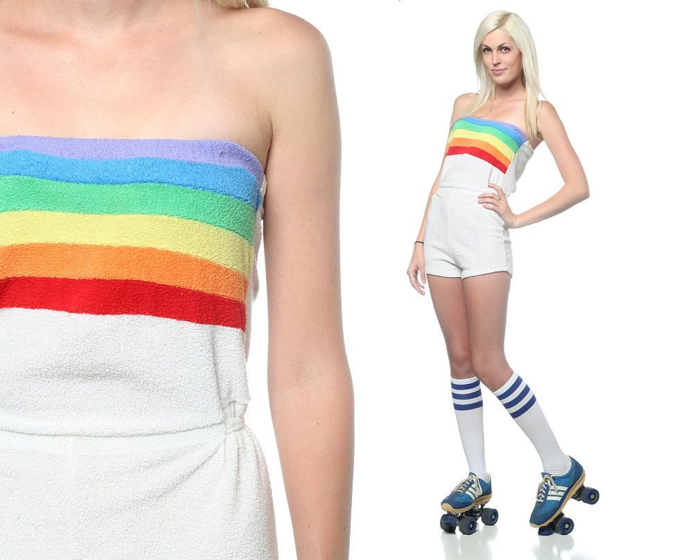 Roller skates in the 70s - Vintage 70s Romper Playsuit Onesie Rainbow Stripe Strapless Tube Top Terrycloth Roller Girl Beach Festival Small S