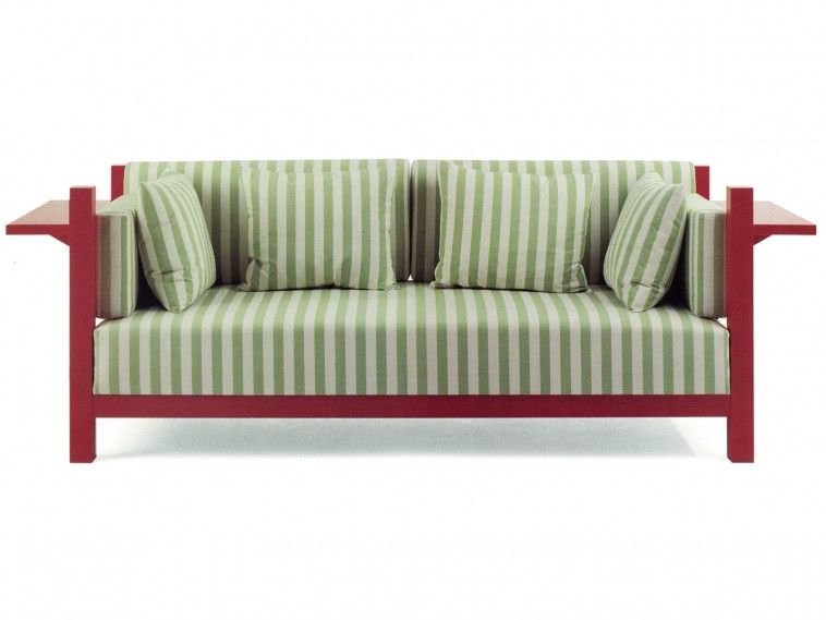 Furniture. Green Striped Fabric Sofa With Red Wooden Arms And Legs Complete  With Green Striped