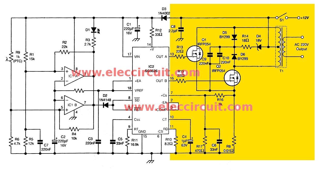 How To Build 200w Inverter Circuit Diagram Project Eleccircuit Com Power Inverters Circuit Power
