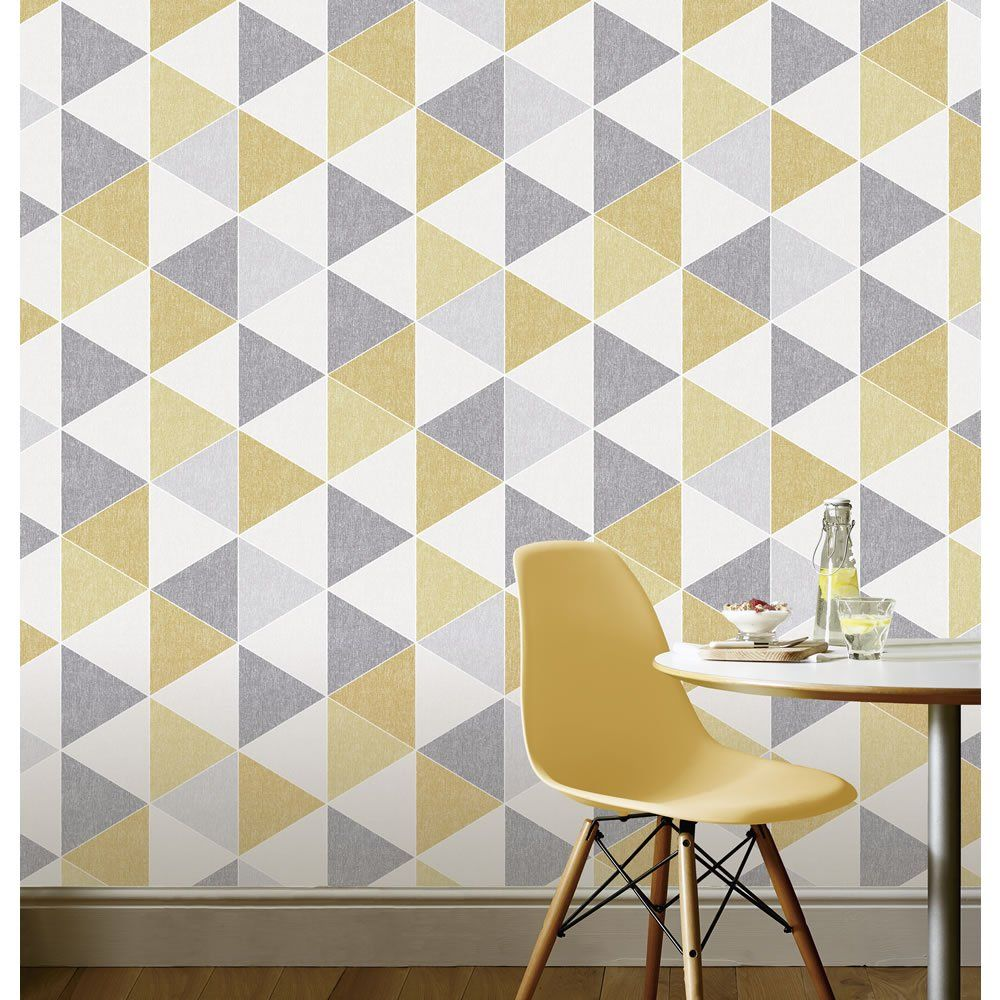 Arthouse Wallpaper Scandi Triangle Yellow and Grey Home