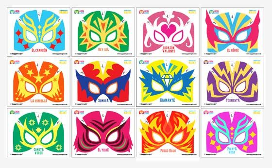 make your own 12 printable lucha libre mask cuff templates in