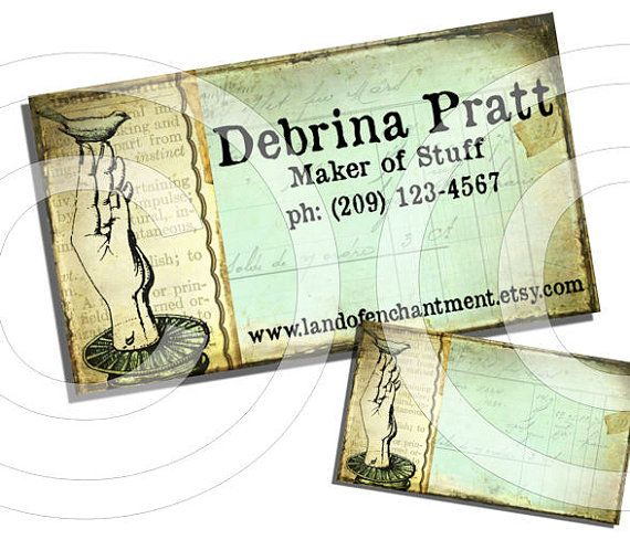Bird on hand vintage style printable personalized business cards bird on hand vintage style printable personalized business cards etsy shop custom product labels hang tags reheart Images