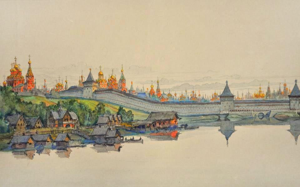 рисунок в москве реке него