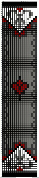 Bead loom pattern simple red and black