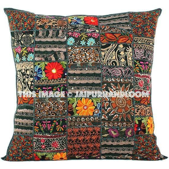 24x24 Indian Patchwork Pillow Cover Black Bohemian Cushion Large Throw Floor Ethnic Decor