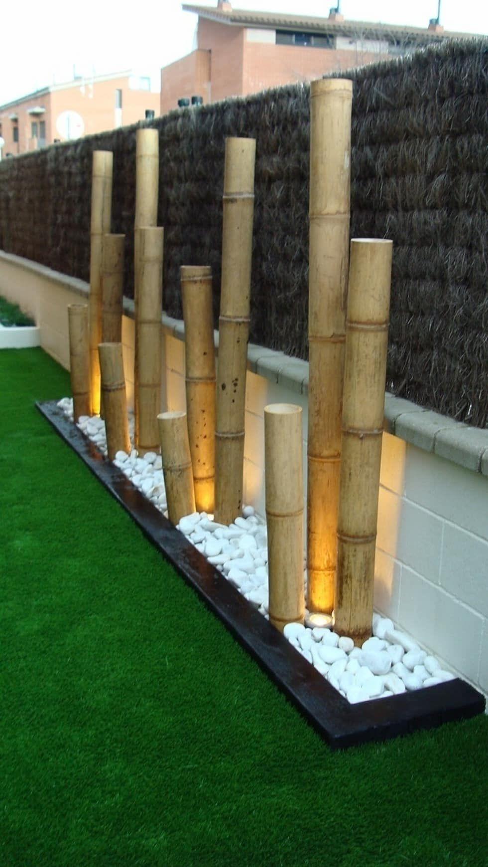 Jardinera con bamb y bolo blanco con iluminaci n - Jardineras para jardin ...
