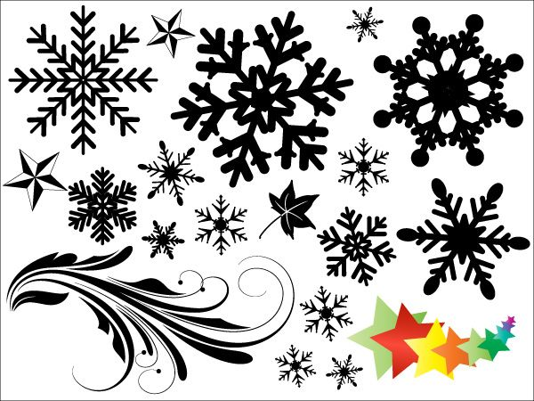 Snowflakes Vectors, Brushes, Shapes, PNG Photoshop Freebies