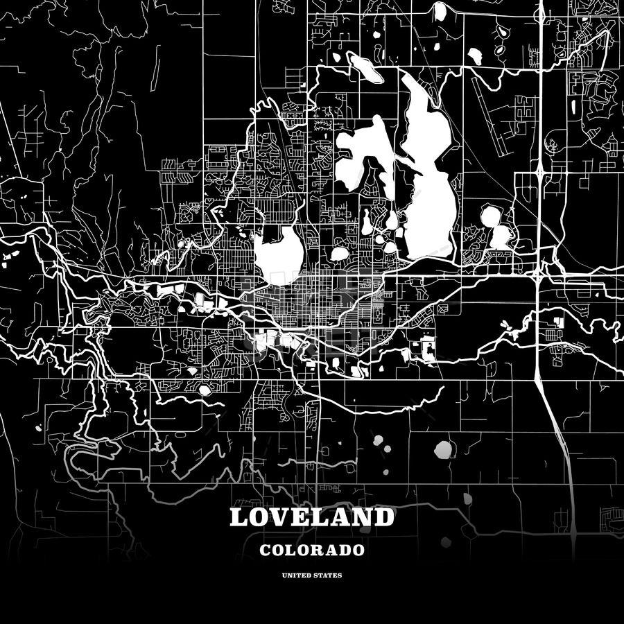 Black map poster template of loveland colorado usa