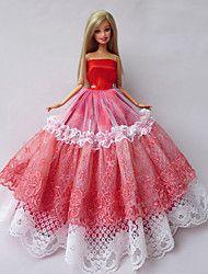 Poupée+Barbie-Rouge+/+Blanc-Princesse-Robes-+enSatin+/+Dentelle+–+EUR+€+4.89